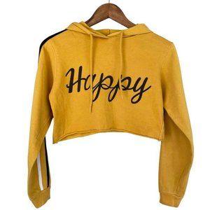 Crop Top Hoodie On Fire Happy M
